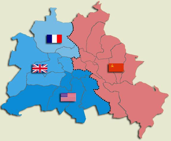 Allied Sectors In Berlin - Map of divided berlin